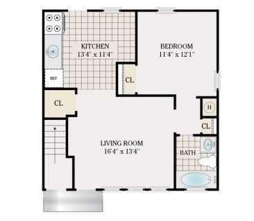 1 Bedroom 745 sq.ft.