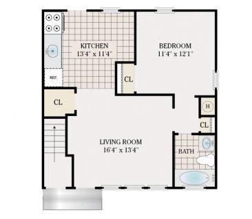 1 Bedroom 745 sq.ft.